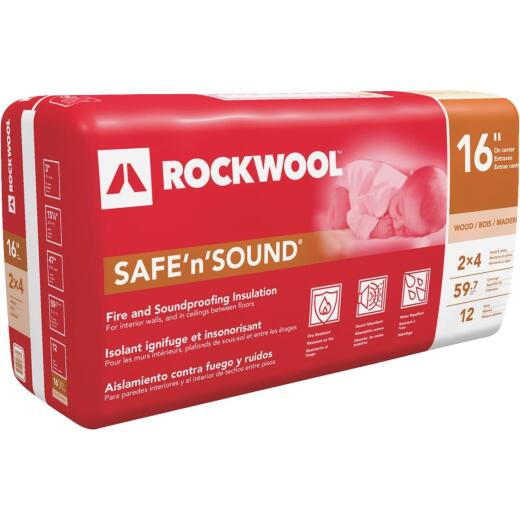 Rockwool Safe N Sound 16 In. x 47 In. Stone Wool Insulation (12-Pack)
