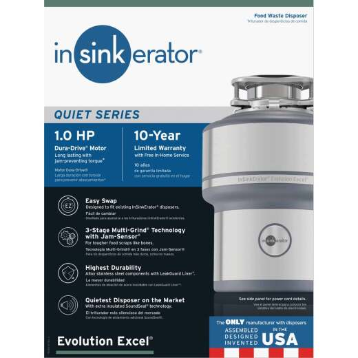 Insinkerator Evolution Excel 1 HP Garbage Disposer, 10 Year Warranty