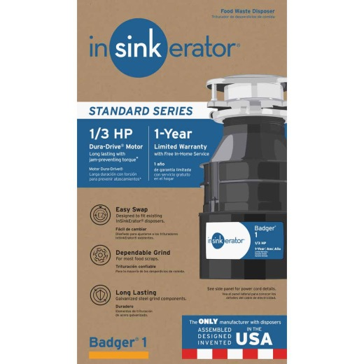 Insinkerator Badger 1/3 HP Garbage Disposer, 1 Year Warranty